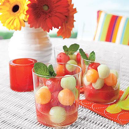 Melon Ball Salad with Lime Syrup