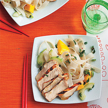 Grilled Teriyaki Pork with Mango-Noodle Salad Recipe