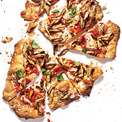 Cracker-Crust Mushroom Pizza