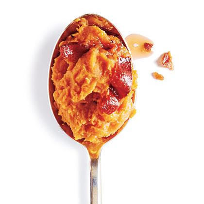 Maple Bacon Mashed Sweet Potatoes