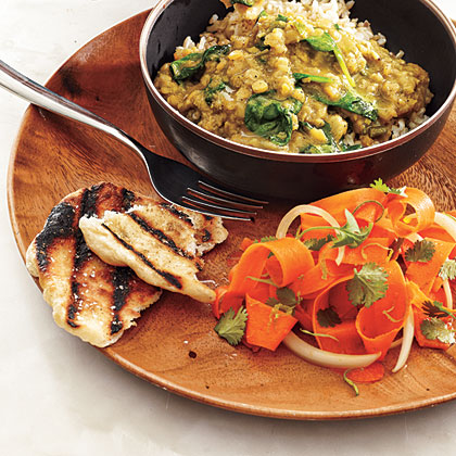 Red Lentil Dal with Carrot Salad and Coriander FlatbreadsRecipe
