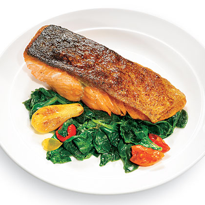 Seared Salmon with Wilted Spinach Recipe