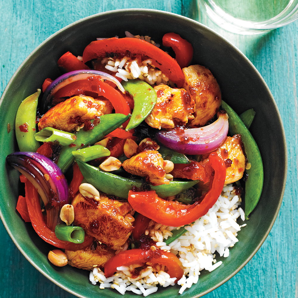 <p>Sweet-Spicy Chicken and Vegetable Stir-Fry</p>