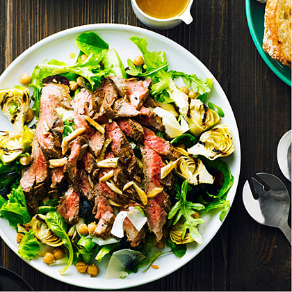 Garlicky Steak Salad with Chickpeas and Artichokes