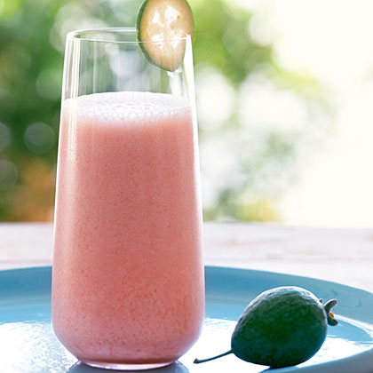 Pineapple Guava (Feijoa) and Strawberry Smoothie