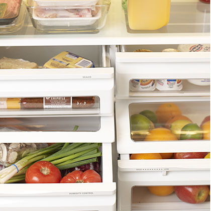 Drawers, Bins & Containers: Consult the owner's manual for guidance. For produce drawers, adjust to high humidity for vegetables. For fruits, turn dial to low humidity.Bottom shelf: The coldest part of the fridge, this is the best place to store fresh meats, fish, and poultry.