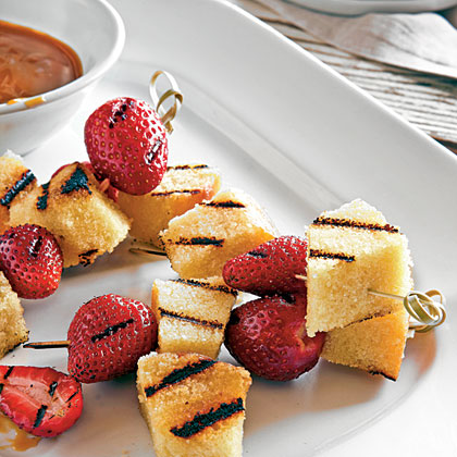 Frozen, packaged pound cake works well here; the dense texture cuts evenly and doesn't crumble. Use homemade or deli pound cake if desired, but steer clear of varieties with nuts and chocolate chips, which make skewering tricky.Grilled Berries and Pound Cake with Bourbon-Butterscotch Sauce Recipe
