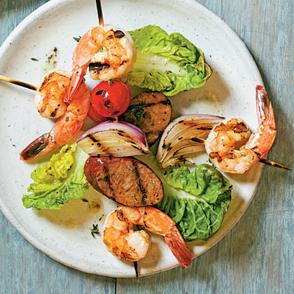Shrimp-and-Andouille Brochettes