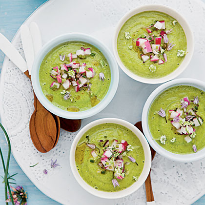 Zucchini-and-Mint Gazpacho with Radish Salsa