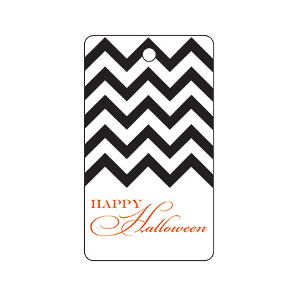 Holiday Gift Tag - Halloween Black Chevron