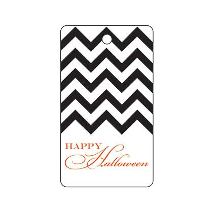 Holiday Gift Tag - Halloween Black Chevron