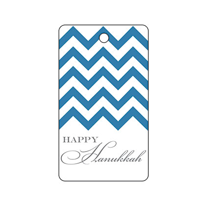 Holiday Gift Tag - Hanukkah Blue Chevron