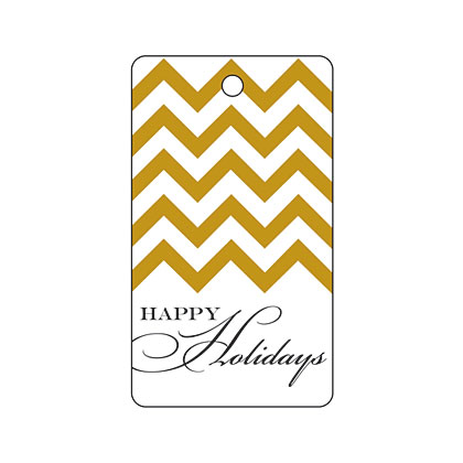 Holiday Gift Tag - Holiday Gold Chevron