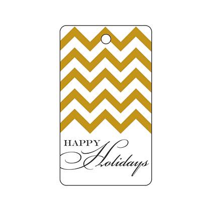 Holiday Gift Tag - Holiday Gold Chevron