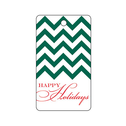 Holiday Gift Tag - Holiday Green Chevron