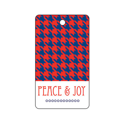 Holiday Gift Tag - Peace and Joy Houndstooth