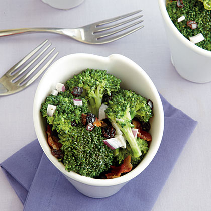 Broccoli Crunch Salad with Bacon and Currants Recipe | MyRecipes