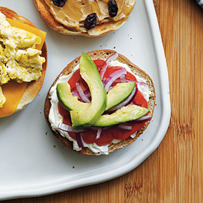 Cream Cheese, Tomato, Red Onion, and Avocado Bagel Recipe