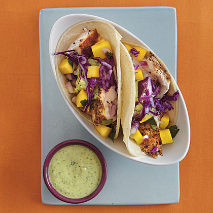Fish Tacos with Lime Crema and Mango Salsa