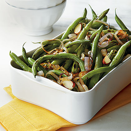 Green Beans with Toasted Almonds and Lemon Recipe | MyRecipes.com