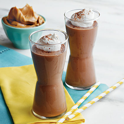 Peanut Butter, Banana, and Chocolate Smoothies Recipe | MyRecipes