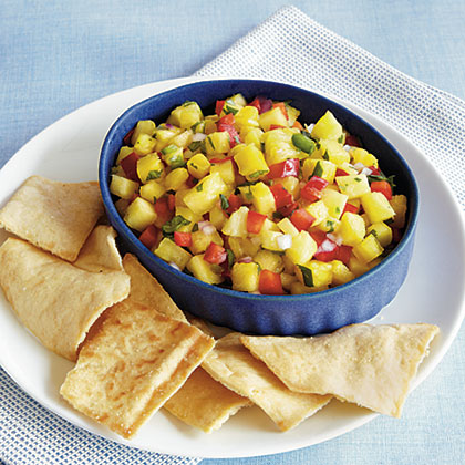 Pineapple Salsa RecipeThis healthy snack is definitely as tasty as it is colorful. Freshly sliced pineapple, red bell pepper, and red onion make this dairy-free salsa an instant favorite at any family gathering.