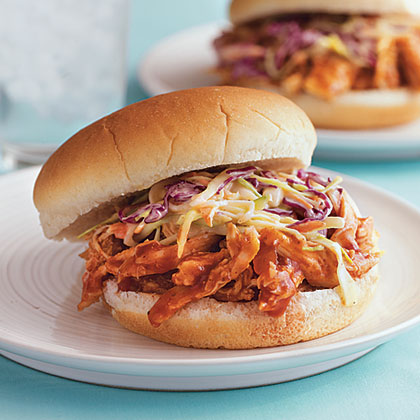 Pulled Barbecue Chicken and Coleslaw SandwichesRecipe