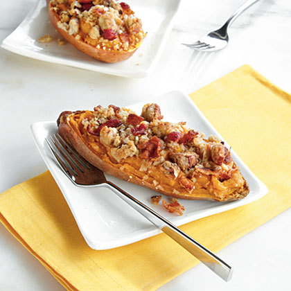 Twice-Baked Sweet Potato Boats with Bacon-Pecan Topping Recipe ...