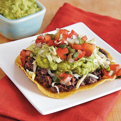 Veggie Tostadas with Black Beans and Easy Guacamole Recipe ...