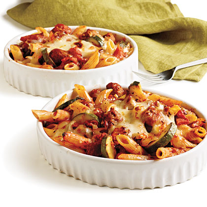Penne Rigate with Spicy Sausage and Zucchini in Tomato Cream Sauce Recipe