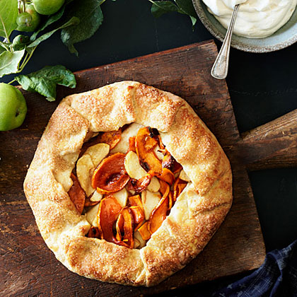 Apple Pumpkin Galette RecipeBasically an open-face pie, this galette is a great dessert for pie-phobes to make because the crust is so easy to handle--you don't even need a pie pan.