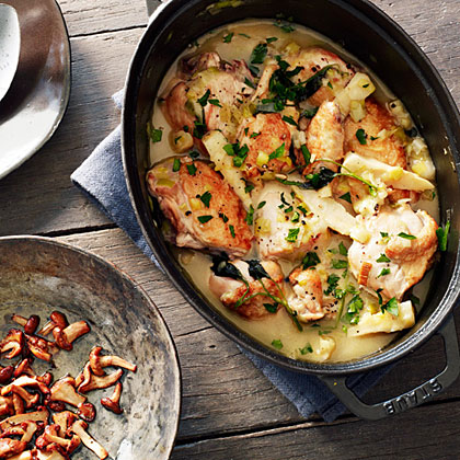 Chicken Fricassee with Parsley Roots and Chanterelle Mushrooms Recipe