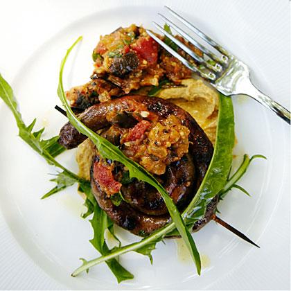 Merguez with Chickpea Purée and Eggplant Jam Recipe