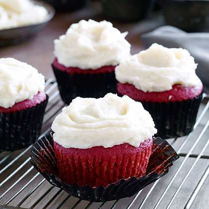 Red Velvet Cupcakes with Orange Buttercream Recipe - 3 | MyRecipes