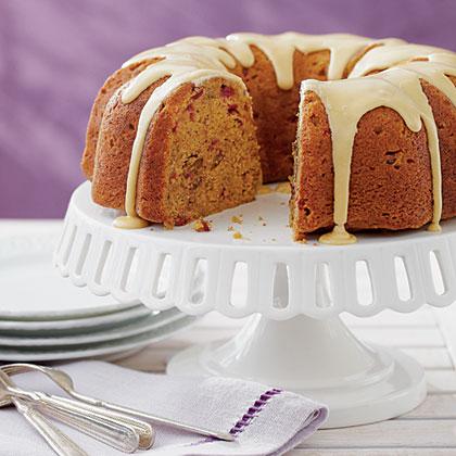 Maple-Glazed Pumpkin-Cranberry Coffee Cake Recipe   MyRecipes.com