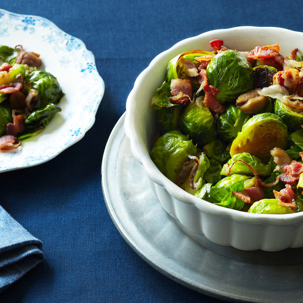 Brussels Sprouts with Chestnuts and Bacon Recipe | MyRecipes
