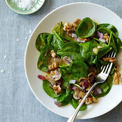 Warm Walnut Spinach Salad