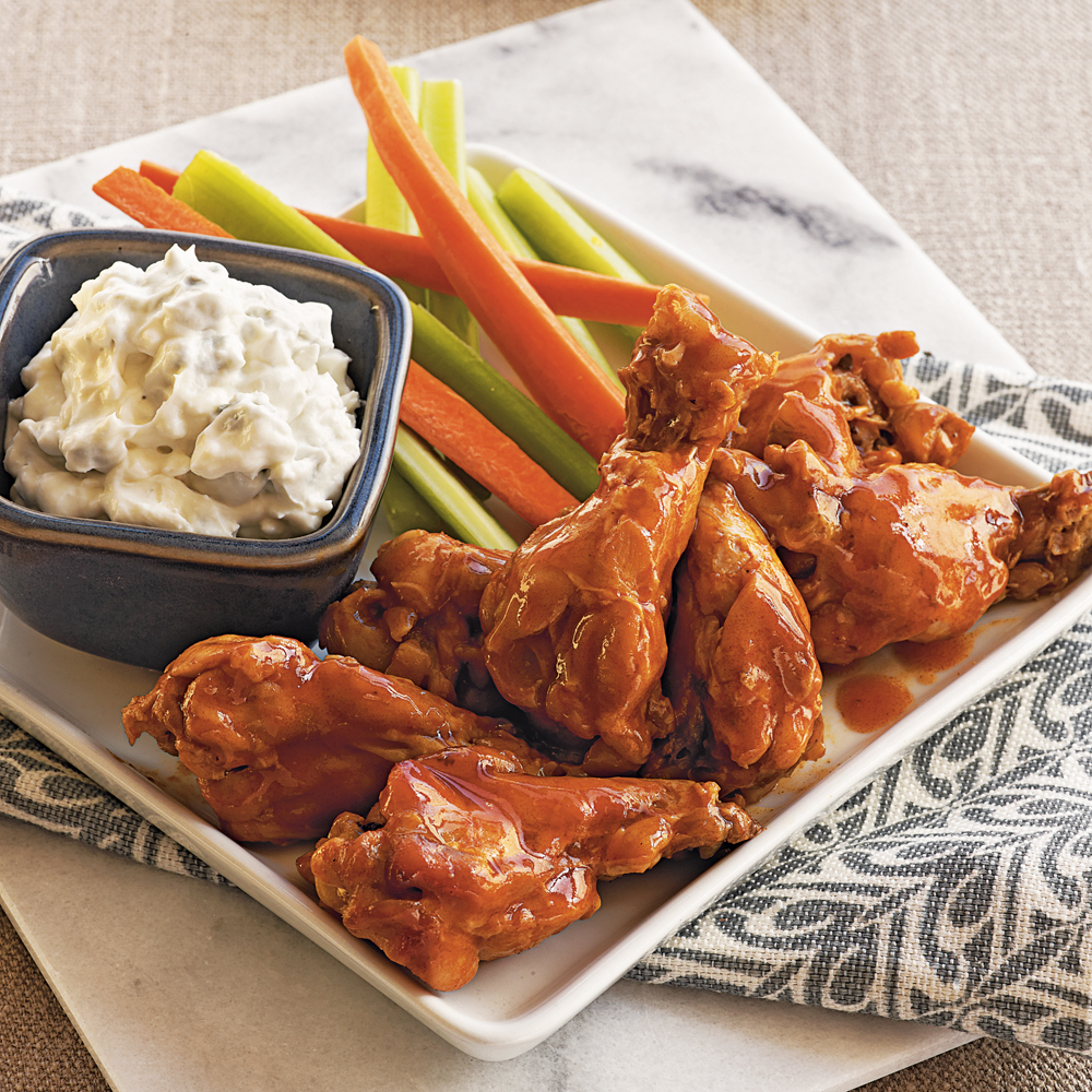 Buffalo-Style Drummettes with Blue Cheese Dip