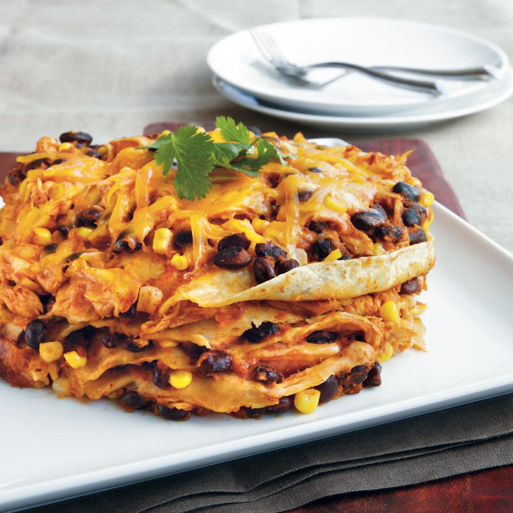 Chicken Enchilada Stack Recipe   MyRecipes.com