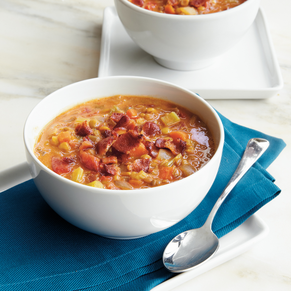 If it's buried under bacon, then you know it's got to be good. This is a yummy comfort food perfect to make throughout the year and appropriate for all members of your family.Curried Lentil-Tomato Soup Recipe
