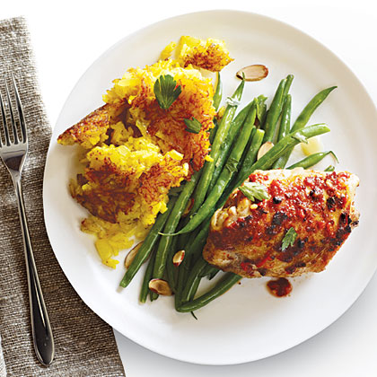 Fiery Chicken Thighs with Persian Rice Recipe
