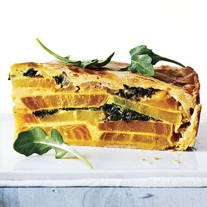 Golden Beet, Greens, and Potato Torta