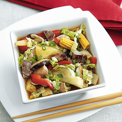 Braised Turkey and Asian Vegetables Recipe