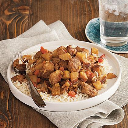 Curried Pork over Basmati Rice