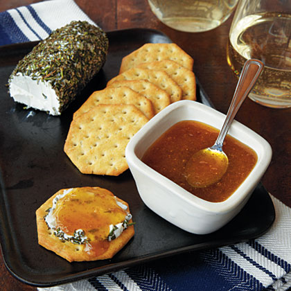 Serve this honey-colored jam alongside goat cheese or 1/3-less-fat cream cheese with assorted crackers. The recipe makes a lot, so store in decorative jars in your refrigerator to serve to unexpected guests and at impromptu parties. Tie on a pretty ribbon to present as a hostess gift.Orange-Fig Jam Recipe