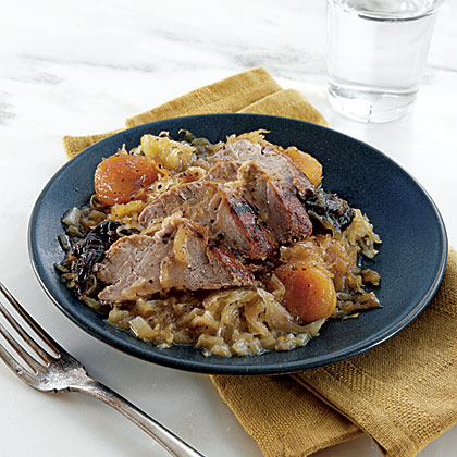 Pork with Apricots, Dried Plums, and Sauerkraut Recipe