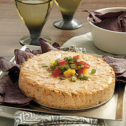 Salsa Cheesecake RecipeServed with baked tortilla chips, this festive appetizer will be a hit at your next party.