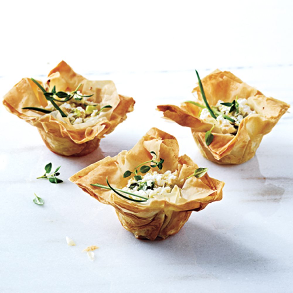 Phyllo Cups with Ricotta, Chèvre, and Thyme Recipe