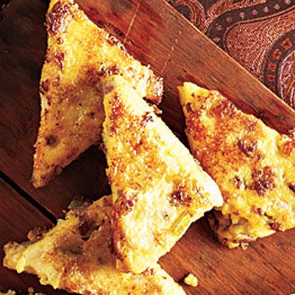 Polenta-Sausage Triangles