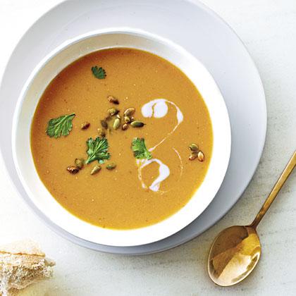 Red lentil pumpkin soup recipe myrecipes for Best lentil soup recipe in the world